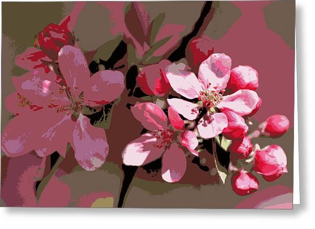 Flowering Crabapple Posterized Greeting Card by Mark J Seefeldt
