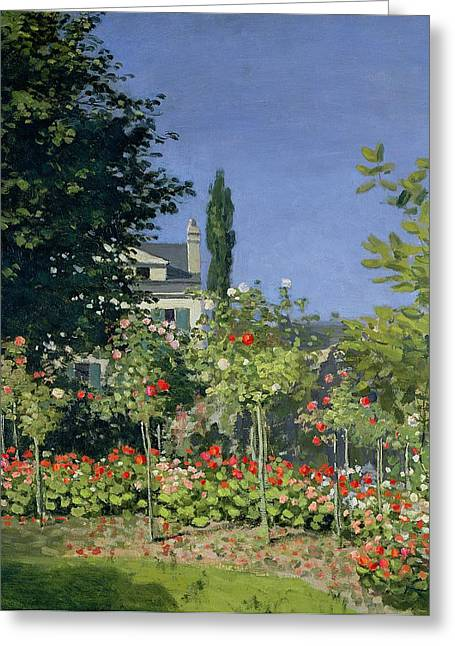 Flowering Greeting Cards - Flowering Garden at Sainte-Adresse Greeting Card by Claude Monet