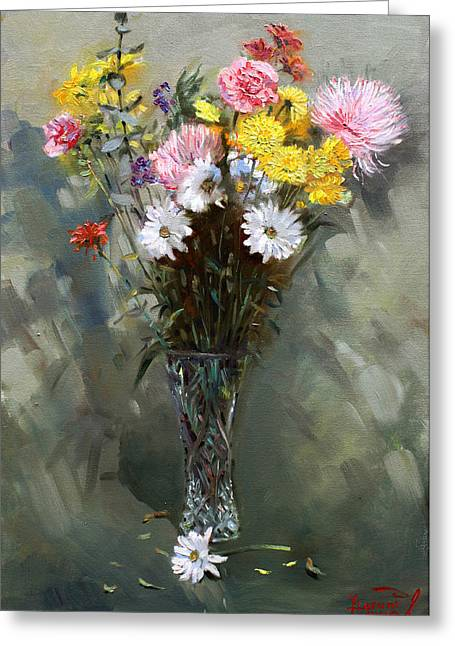 Still-life With Flowers Greeting Cards - Flowers 2010 Greeting Card by Ylli Haruni