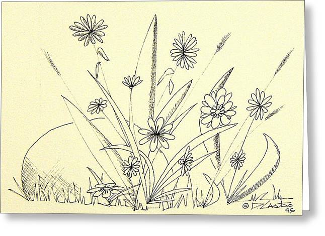 Denny Casto Greeting Cards - Flowers among Weeds and a Rock Greeting Card by Denny Casto
