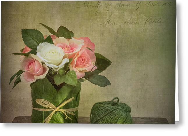 Colourful Art Greeting Cards - Flowers and A Ball of String Greeting Card by Ian Barber