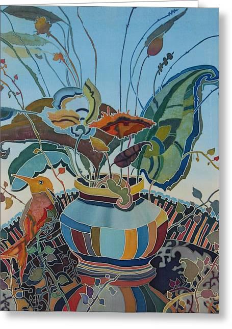 Flower Still Life Tapestries - Textiles Greeting Cards - Flowers And Bird Greeting Card by Irina Dorofeeva