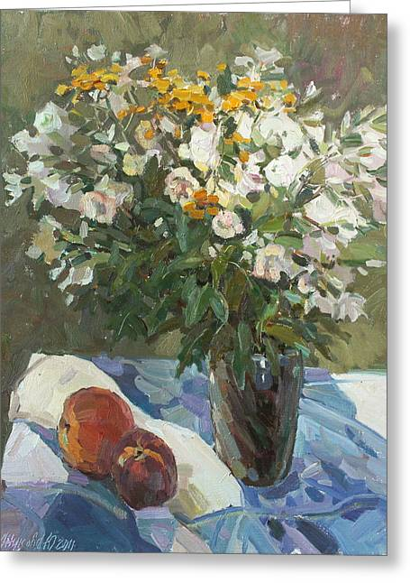 Flowers And Peaches Greeting Card by Juliya Zhukova