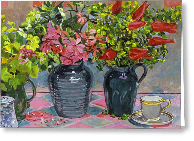Floral Still Life Greeting Cards - Flowers and Pitchers Greeting Card by David Lloyd Glover
