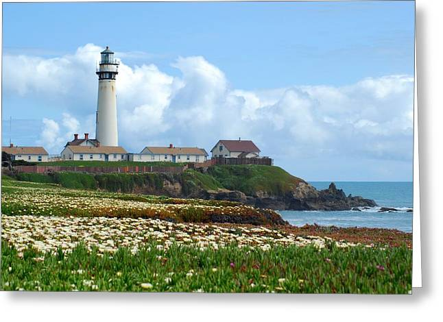 Pigeon Point Light Station Greeting Cards - Flowers and the Pigeon Point Light Station Greeting Card by Wanda Jesfield