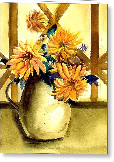 Anil Nene Greeting Cards - Flowers Greeting Card by Anil Nene