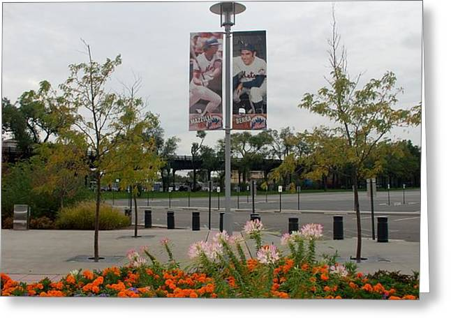 FLOWERS AT CITI FIELD Greeting Card by ROB HANS
