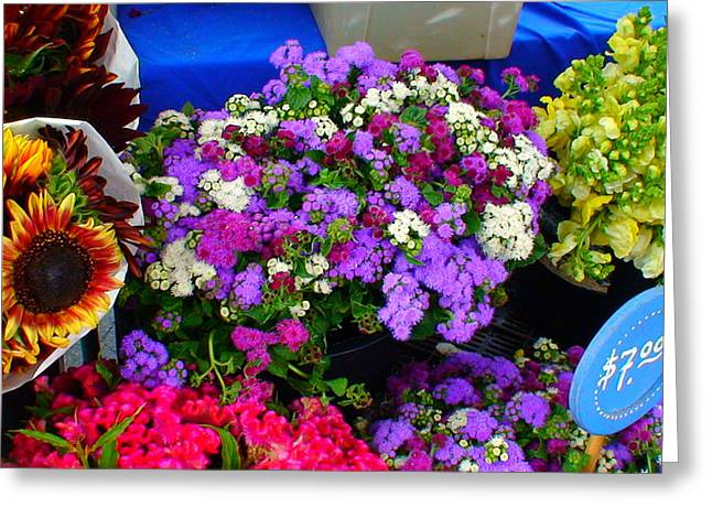 Prussian Blue Greeting Cards - Flowers at Union Station Market Greeting Card by Angela Annas