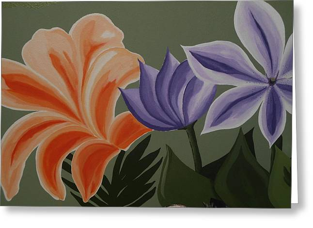 Bass Tapestries - Textiles Greeting Cards - Flowers from my mural Greeting Card by Denise D Cooper
