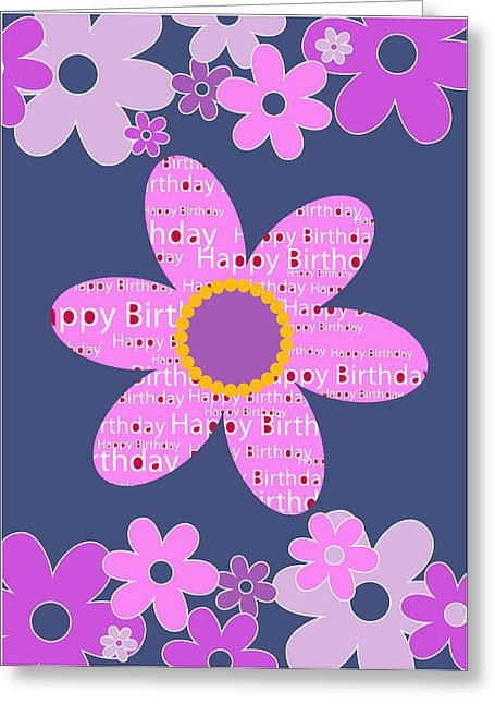 Balloon Flower Drawings Greeting Cards - Flowers Happy Birthday Greeting Card by Baker  Alhashki