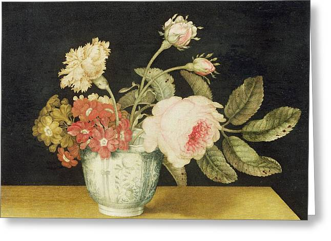 Flowers in a Delft Jar  Greeting Card by Alexander Marshal