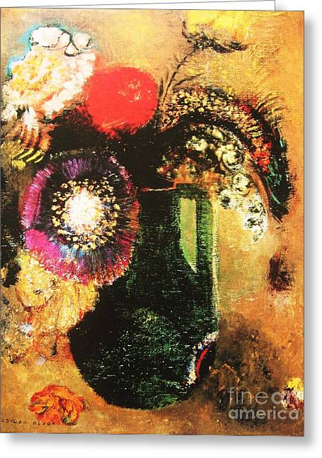 Abstract Vase Flower Print Greeting Cards - Flowers In a Green Vase Greeting Card by Pg Reproductions