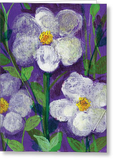 Dream Scape Greeting Cards - Flowers in Moonlight Greeting Card by Ashleigh Dyan Bayer