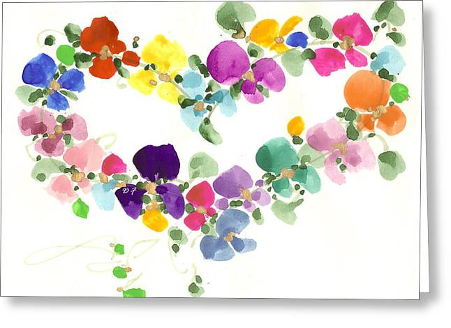 Flowers In My Heart Greeting Card by Darlene Flood