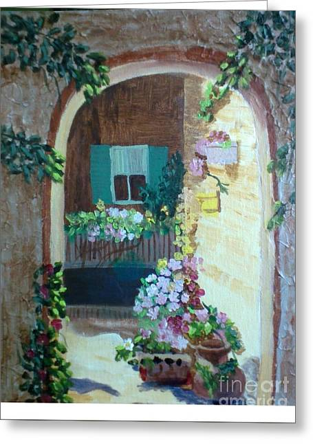 Mediterranean Landscape Reliefs Greeting Cards - Flowers in Stone Doorway Greeting Card by Jeanene Miller