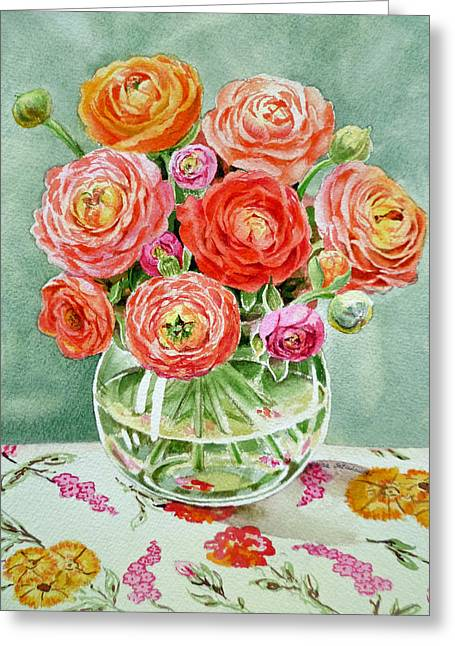 Glass Vase Paintings Greeting Cards - Flowers in the Glass Vase Greeting Card by Irina Sztukowski