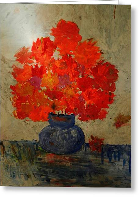 Steal Prints Greeting Cards - Flowers in the Vase Greeting Card by Marina R Vladis