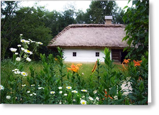 Garden Scene Pyrography Greeting Cards - Flowers near rural house Greeting Card by Aleksandr Volkov