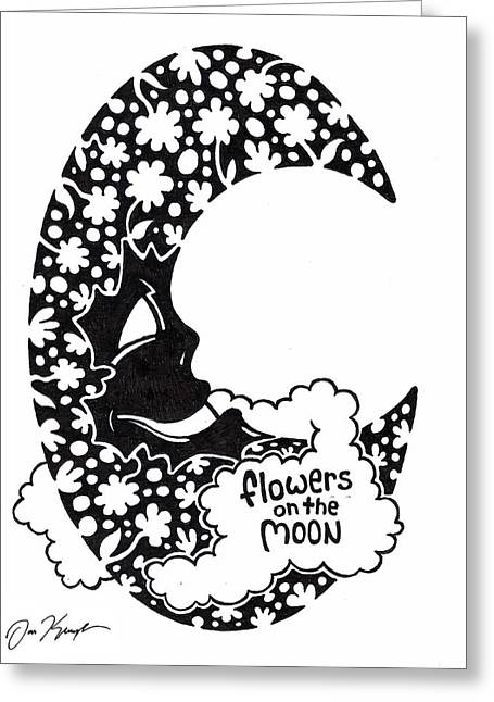 Bright Drawings Greeting Cards - Flowers on the Moon Greeting Card by Dan Keough