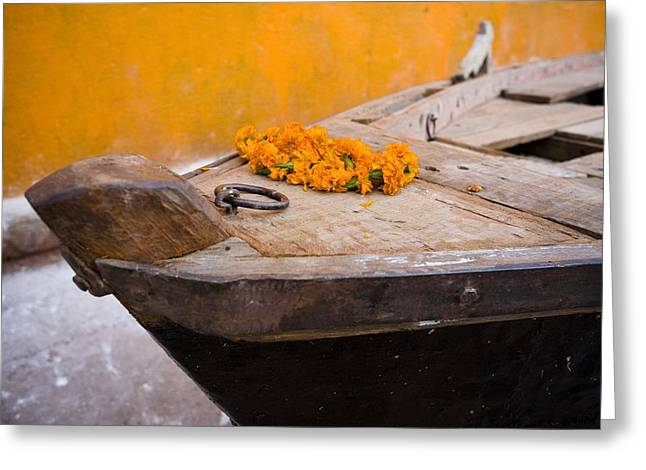 Utter Greeting Cards - Flowers On Top Of Wooden Canoe Greeting Card by David DuChemin