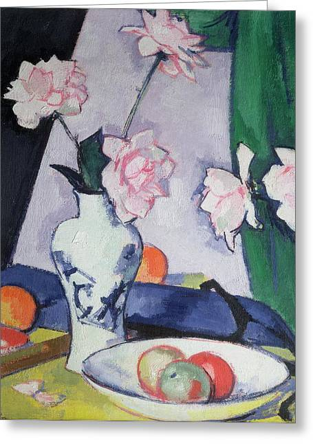 Growth Paintings Greeting Cards - Flowers Greeting Card by Samuel John Peploe