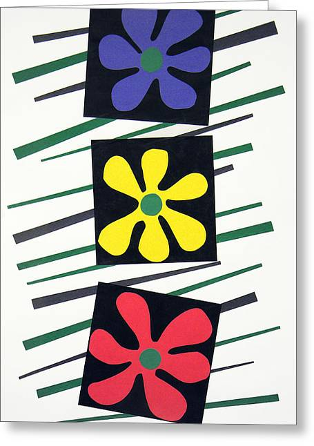 Green And Yellow Tapestries - Textiles Greeting Cards - Flowers Three Greeting Card by Teddy Campagna