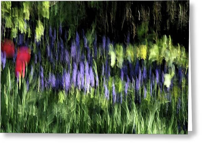 Watery Greeting Cards - Flowers thru wavy glass Greeting Card by ShaddowCat Arts - Sherry