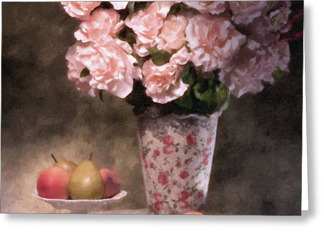 Flowers With Fruit Still Life Greeting Card by Tom Mc Nemar