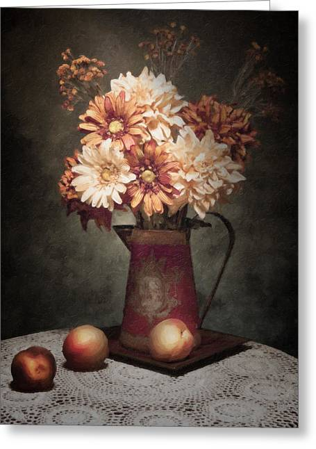 Old Pitcher Photographs Greeting Cards - Flowers with Peaches Still Life Greeting Card by Tom Mc Nemar