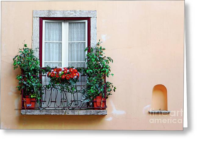 Flowery Greeting Cards - Flowery Balcony Greeting Card by Carlos Caetano