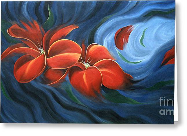 Floral Photographs Paintings Greeting Cards - Flowing Flowers 4 Greeting Card by Uma Devi