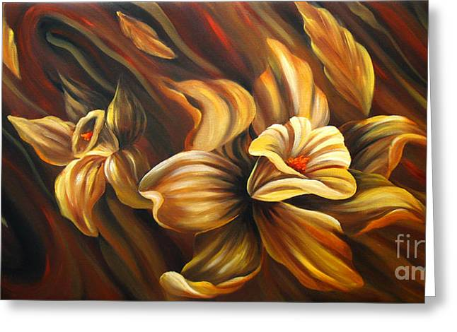 Floral Photographs Paintings Greeting Cards - Flowing Flowers Greeting Card by Uma Devi
