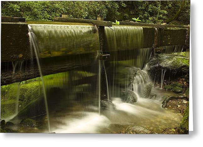 Grist Mill Greeting Cards - Flowing Water from Mill Greeting Card by Andrew Soundarajan