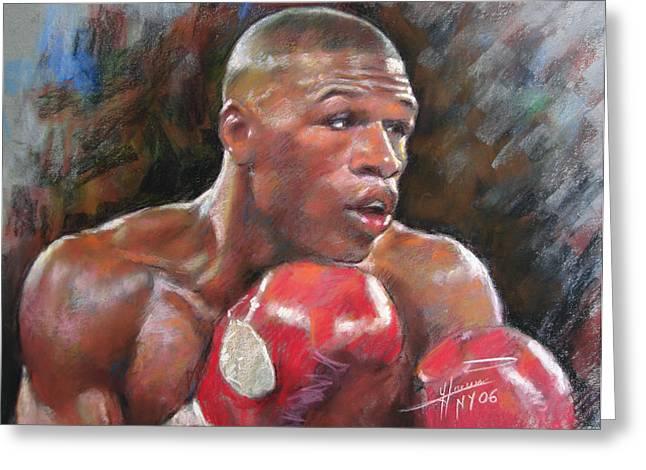 Boxer Greeting Cards - Floyd Mayweather Jr Greeting Card by Ylli Haruni