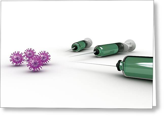 Pathogen Greeting Cards - Flu Vaccine, Conceptual Artwork Greeting Card by Robert Brocksmith