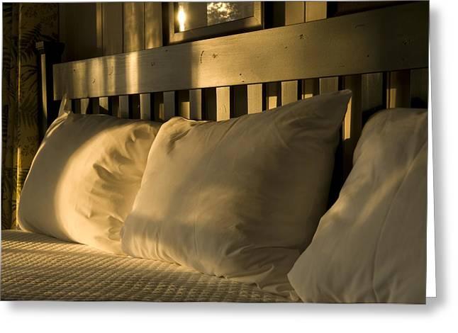 Lake Champlain Greeting Cards - Fluffed Pillows On A Cabin Bed At Lake Greeting Card by Joel Sartore