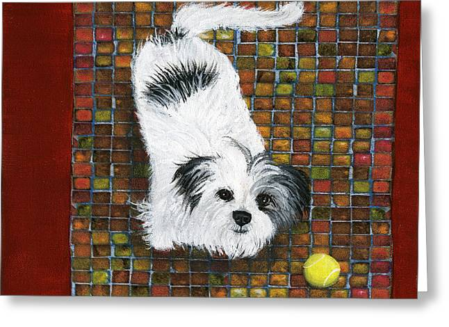 Fetch Greeting Cards - Fluffy the Fluffmeister Greeting Card by Debbie Brown