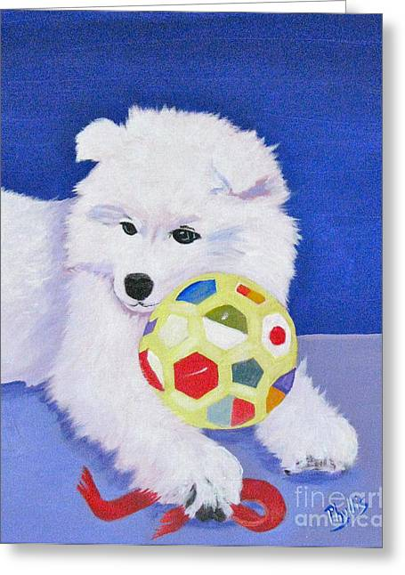 Puppies Paintings Greeting Cards - FLUFFYs Portrait Greeting Card by Phyllis Kaltenbach