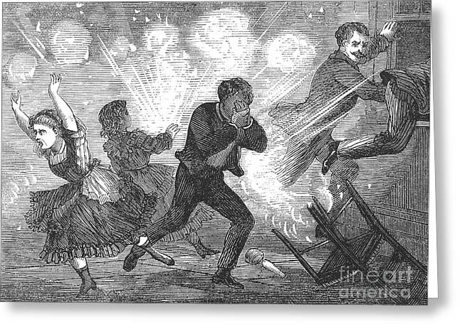 FLUID LAMP EXPLOSION, 1868 Greeting Card by Granger