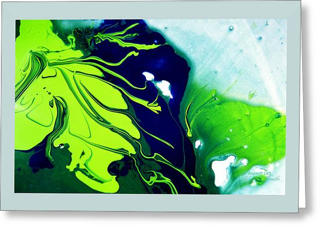Aspect Mixed Media Greeting Cards - FLUIDISM Aspect 185 Frame Greeting Card by Robert  G Kernodle