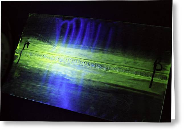 Fluorescent Dye Penetrant Test Results Greeting Card by Paul Rapson