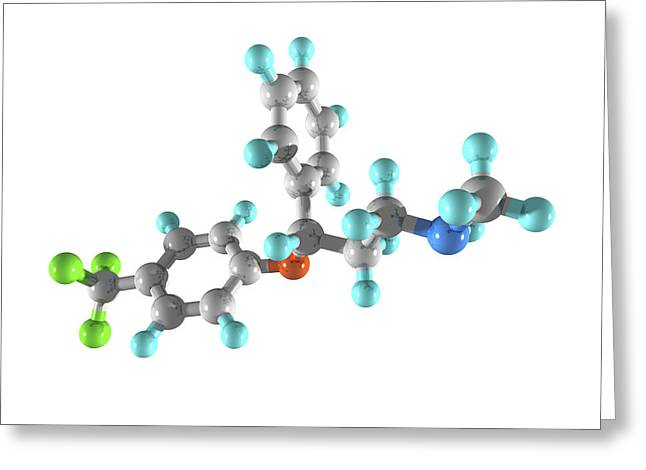 Prozac Greeting Cards - Fluoxetine Drug Molecule Greeting Card by Laguna Design