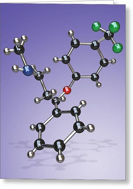 Antidepressant Greeting Cards - Fluoxetine Drug Molecule Greeting Card by Miriam Maslo
