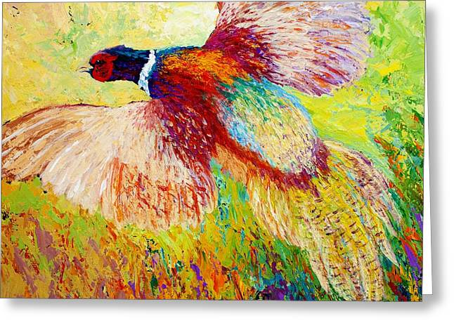 Flushed - Pheasant Greeting Card by Marion Rose