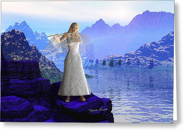 Playing Angels Digital Greeting Cards - Flute Angel 2 Greeting Card by Yuichi Tanabe