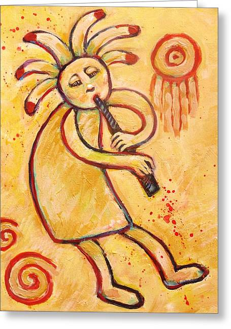 Flute Player Greeting Cards - Flute Player Kokopelli Greeting Card by Carol Suzanne Niebuhr