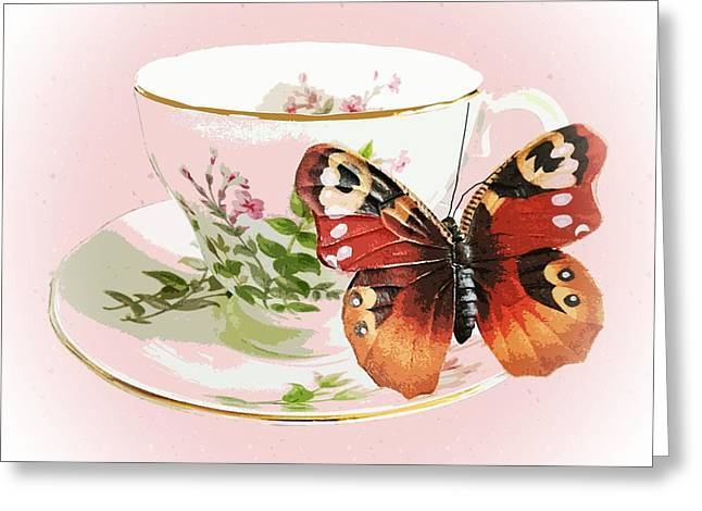 Tea Set Greeting Cards - Flutter cups Greeting Card by Sharon Lisa Clarke
