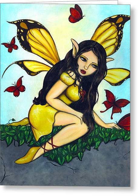 Fairies Greeting Cards - Fluttering Visitors Greeting Card by Elaina  Wagner