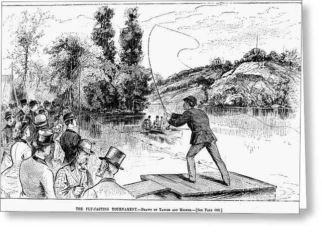 Fishing Tournaments Greeting Cards - Fly Fishing, 1883 Greeting Card by Granger