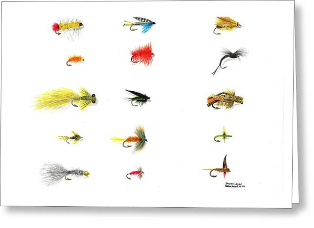 Tackle Drawings Greeting Cards - Fly Fishing Nymphs Wet and Dry Flies Greeting Card by Sharon Blanchard